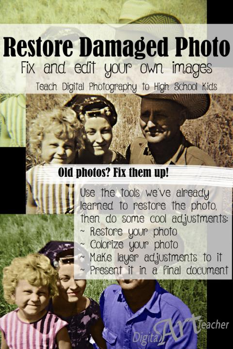 Learn how to restore and colorize images using the correction tools and layer adjustments in Photoshop.
