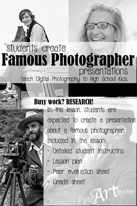 Students learn the history of photography through a self lead research project.